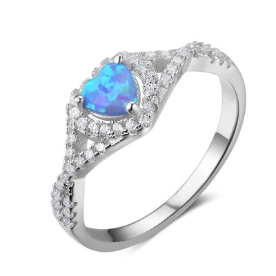 Tinnivi Elegant Sterling Silver Heart Cut Blue Opal Created White Sapphire Womens Band