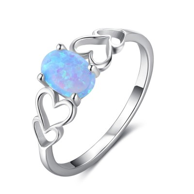 Tinnivi Sterling Silver Oval Cut Blue Opal Hollow Out Heart Womens Ring