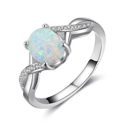 Tinnivi Woven Sterling Silver Oval Cut Opal Womens Ring