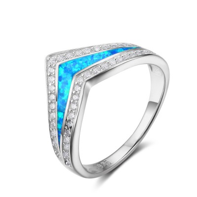 Tinnivi Sterling Silver Crown Shape Blue Opal Created White Sapphire Womens Band