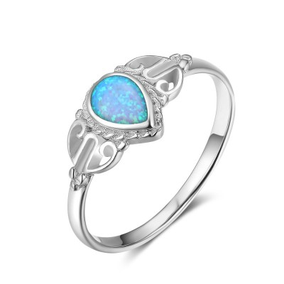 Tinnivi Sterling Silver Pear Cut Blue Opal Stylish Womens Ring