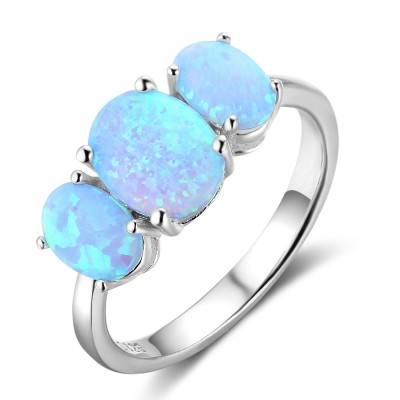 Tinnivi Three Stone Blue Opal Sterling Silver Womens Ring