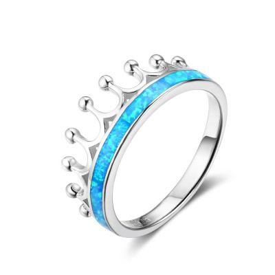 Tinnivi Crown Sterling Silver Blue Opal Created White Sapphire Womens Band
