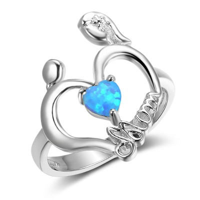 Tinnivi Sterling Silver Love Mom Heart Cut Blue Opal Womens Ring