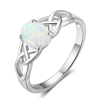 Tinnivi Sterling Silver Woven Oval Cut Opal Womens Ring