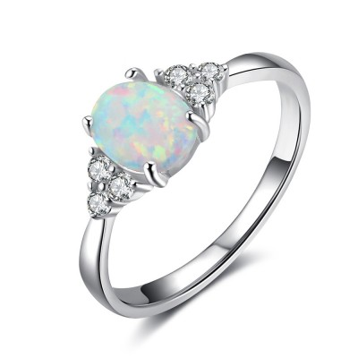 Tinnivi Elegant Sterling Silver Oval Cut Opal With Created White Sapphire Womens Ring