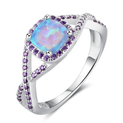 Tinnivi Sterling Silver Cushion Cut Blue Opal With Purple Gemstone Womens Ring