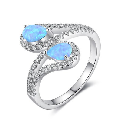 Tinnivi Sterling Silver Double Pear Cut Blue Opal With Created White Sapphire Womens Ring