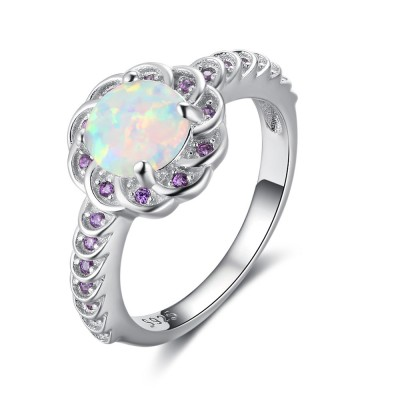 Tinnivi Flower Shape Round Cut Opal With Purple Created GemStone Womens Ring