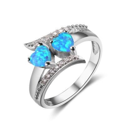 Tinnivi Stylish Double Heart Cut Blue Opal With Created White Sapphire Sterling Silver Womens Ring