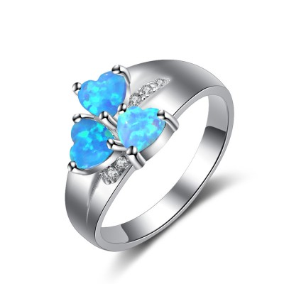Tinnivi Three Stone Heart Cut Blue Opal Sterling Silver Womens Ring