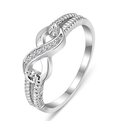 Tinnivi Woven Sterling Silver Infinite Created White Sapphire Womens Ring