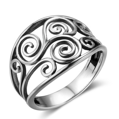 Tinnivi Vintage Celtic Hollow Out Sterling Silver Womens Band