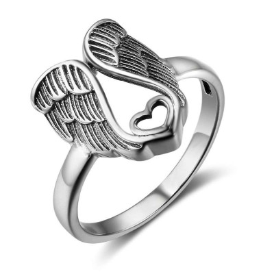 Tinnivi Heart Angle Wings Sterling Silver Womens Band