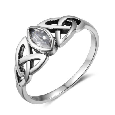 Tinnivi Vintage Celtic Marquise Cut Created White Sapphire Sterling Silver Womens Ring