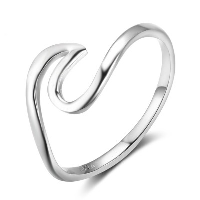 Tinnivi Stylish Wave Sterling Sliver Womens Ring