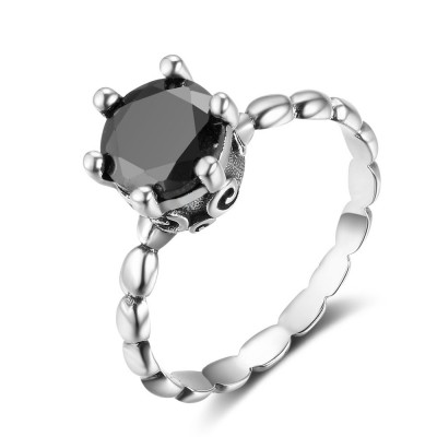 Tinnivi Created Round Cut Created Black Diamond Bamboo Joint Sterling Sliver Womens Ring