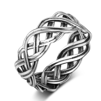 Tinnivi Fashion Woven Celtic Knot Sterling Sliver Womens Band
