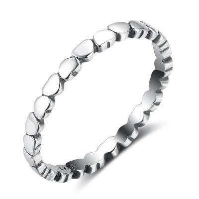Tinnivi Sterling Sliver Polished Heart Womens Band