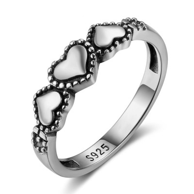Tinnivi Polished Tri-heart Sterling Sliver Womens Band