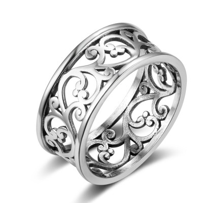 Tinnivi Wide Sterling Sliver Polished Hollow Out Vine Womens Band