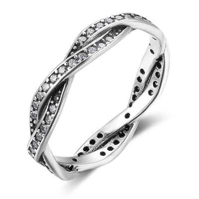 Tinnivi Twist Sterling Sliver With Created White Sapphire Women Rings
