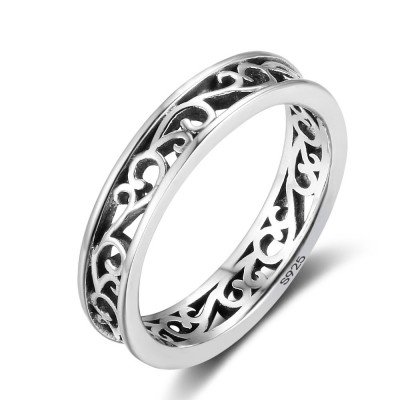 Tinnivi Simple Sterling Sliver Polished Hollow Out Vine Womens Band
