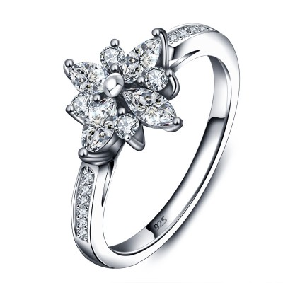 Tinnivi Sterling Sliver Elegant Created White Sapphire Flower Womens Ring