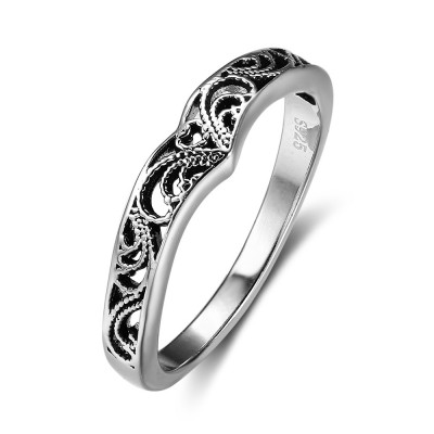 Tinnivi Vintage Hollow Out Sterling Silver Womens Band