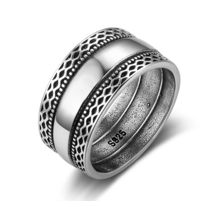 Tinnivi Vintage Twist Pattern Sterling Silver Band