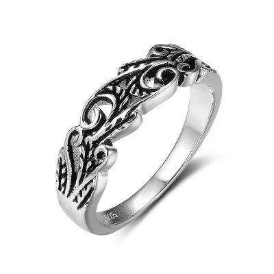 Tinnivi Stylish Vine Hollow Out Sterling Silver Band