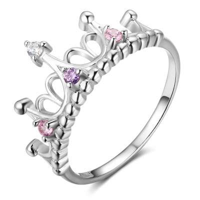 Tinnivi Crown Sterling Silver Womens Ring