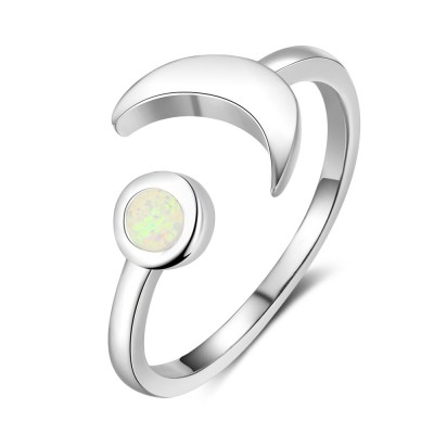Tinnivi Sterling Silver Opal Moon Womens Ring