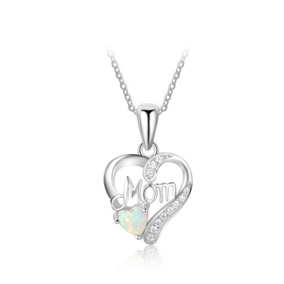 Tinnivi Heart Cut Opal Mom Sterling Silver Heart Shape Pendant Necklace