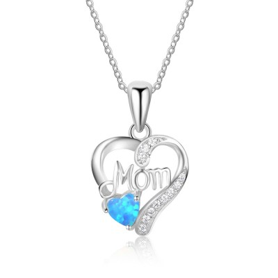 Tinnivi Sterling Silver Heart Cut Blue Opal Mom Heart Shape Pendant Necklace