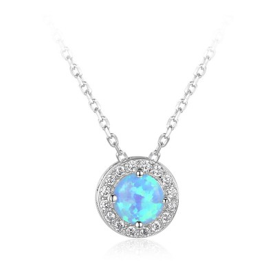 Tinnivi Sterling Silver Halo Round Cut Blue Opal With Created White Sapphire Pendant Necklace