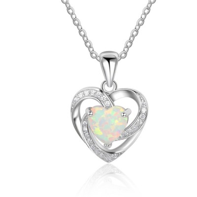 Tinnivi Stylish Heart Cut Opal Sterling Silver Pendant Necklace