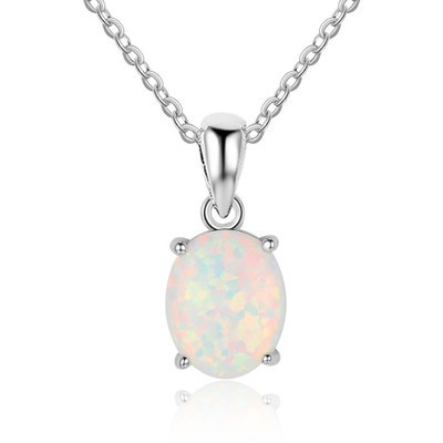 Tinnivi Classic Oval Cut Opal Sterling Silver Pendant Necklace