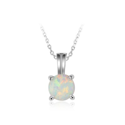Tinnivi Simple Round Cut Opal Sterling Silver Pendant Necklace