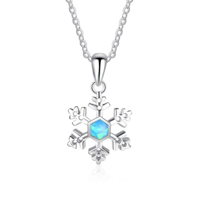 Tinnivi Sterling Silver Snowflake Blue Opal Pendant Necklace