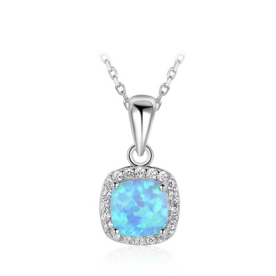 Tinnivi Halo Cushion Cut Blue Opal Sterling Silver Pendant Necklace