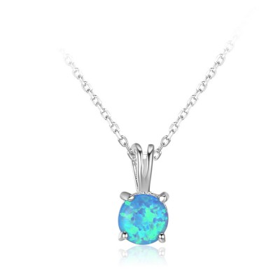 Tinnivi Sterling Silver Classic Round Cut Blue Opal Pendant Necklace