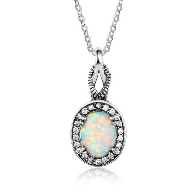Tinnivi Vintage Oval Cut Opal With Created White Sapphire Sterling Silver Pendant Necklace