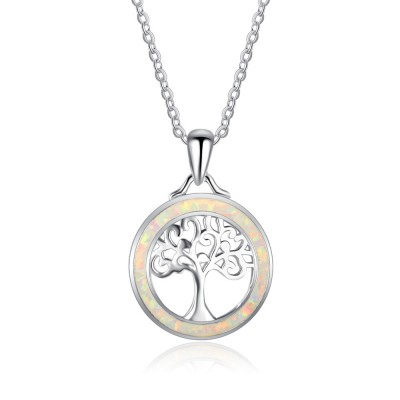 Tinnivi Sterling Silver Opal Hollow Out Lucky Tree Pendant Necklace