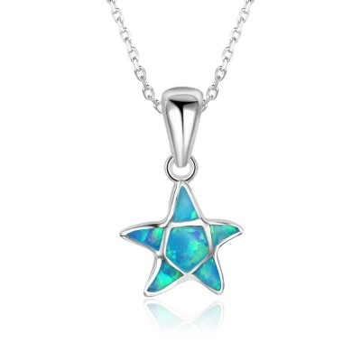 Tinnivi Sterling Silver Blue Opal Pentagram Pendant Necklace