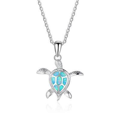 Tinnivi Cute Sterling Silver Blue Opal Turtle Pendant Necklace
