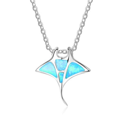Tinnivi Blue Opal Fish Sterling Silver Pendant Necklace