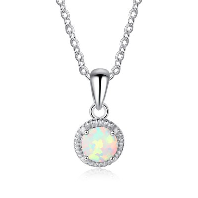 Tinnivi Classic Round Cut Opal Woven Sterling Silver Pendant Necklace