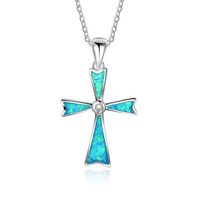 Tinnivi Blue Opal Cross Sterling Silver Pendant Necklace