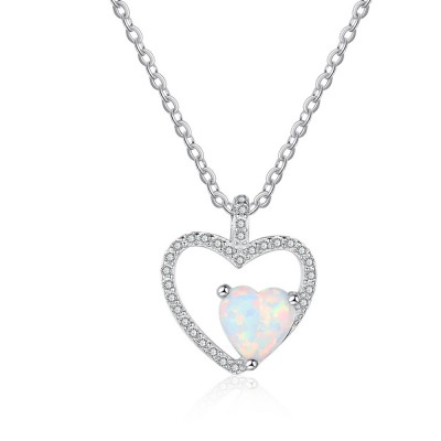 Tinnivi Sterling Silver Heart Cut Opal Heart Shape Pendant Necklace